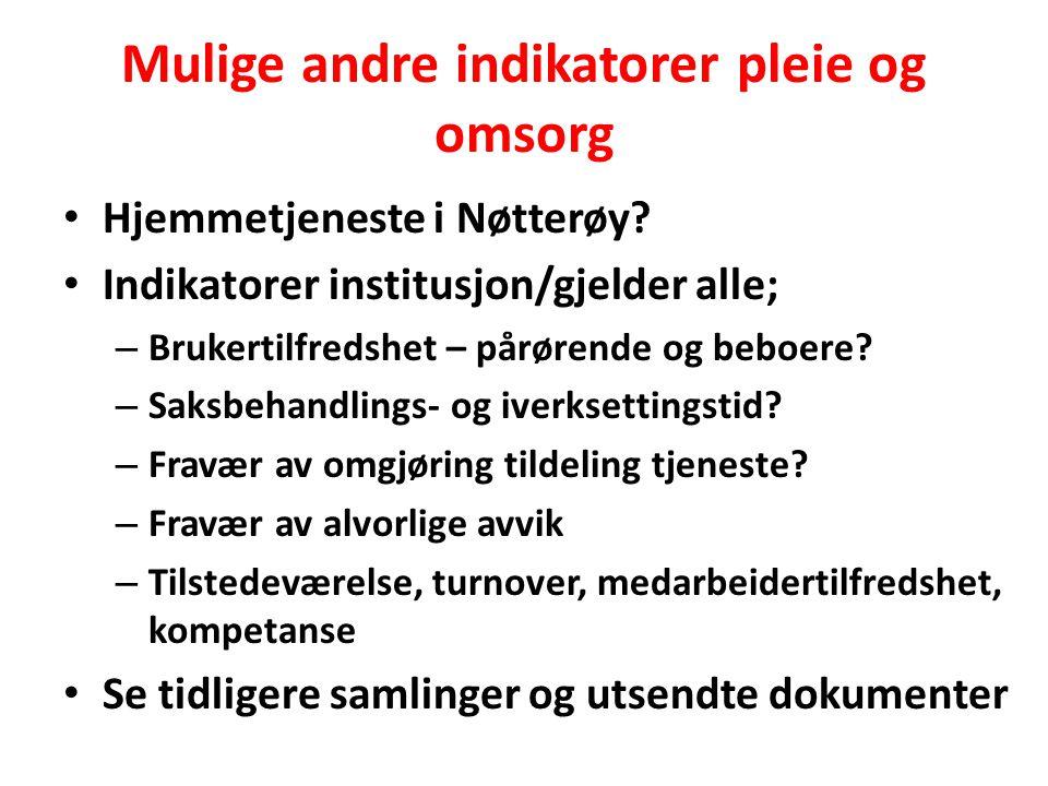 Mulige andre indikatorer pleie og omsorg Hjemmetjeneste i Nøtterøy? Indikatorer institusjon/gjelder alle; – Brukertilfredshet – pårørende og beboere?