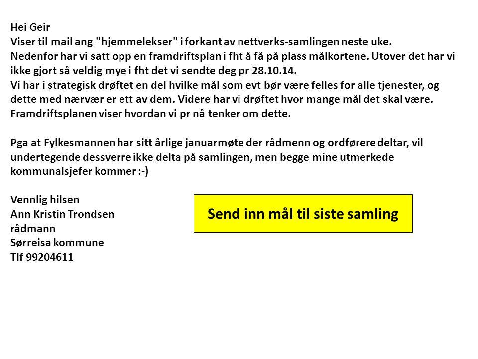 Hei Geir Viser til mail ang