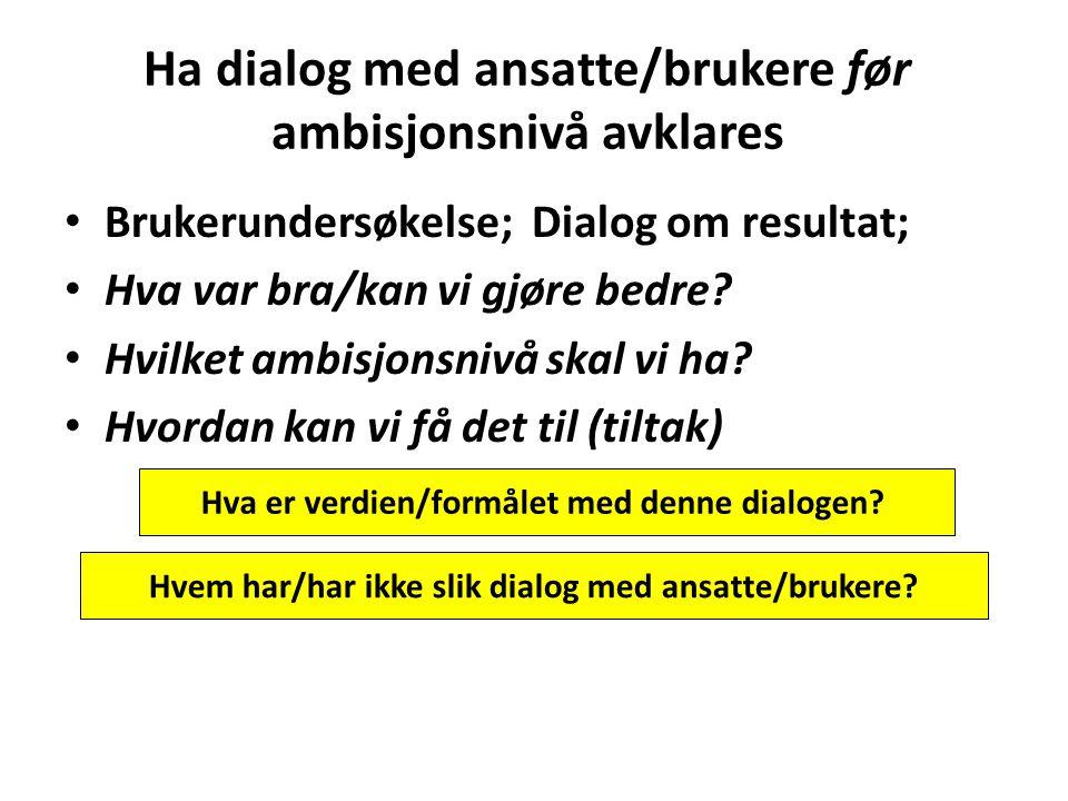 Ha dialog med ansatte/brukere før ambisjonsnivå avklares Brukerundersøkelse; Dialog om resultat; Hva var bra/kan vi gjøre bedre? Hvilket ambisjonsnivå