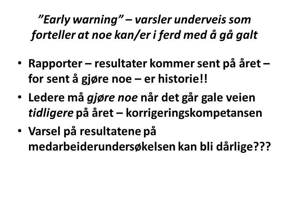 """""""Early warning"""" – varsler underveis som forteller at noe kan/er i ferd med å gå galt Rapporter – resultater kommer sent på året – for sent å gjøre noe"""