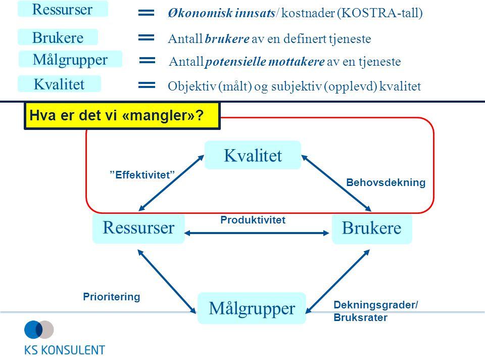 """Brukere Målgrupper Ressurser Produktivitet Dekningsgrader/ Bruksrater Prioritering Kvalitet """"Effektivitet"""" Behovsdekning Ressurser Økonomisk innsats/"""