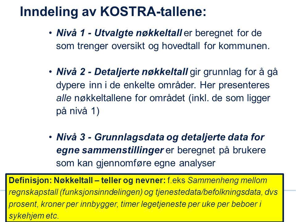 Inndeling av KOSTRA-tallene: Nivå 1 - Utvalgte nøkkeltall er beregnet for de som trenger oversikt og hovedtall for kommunen. Nivå 2 - Detaljerte nøkke