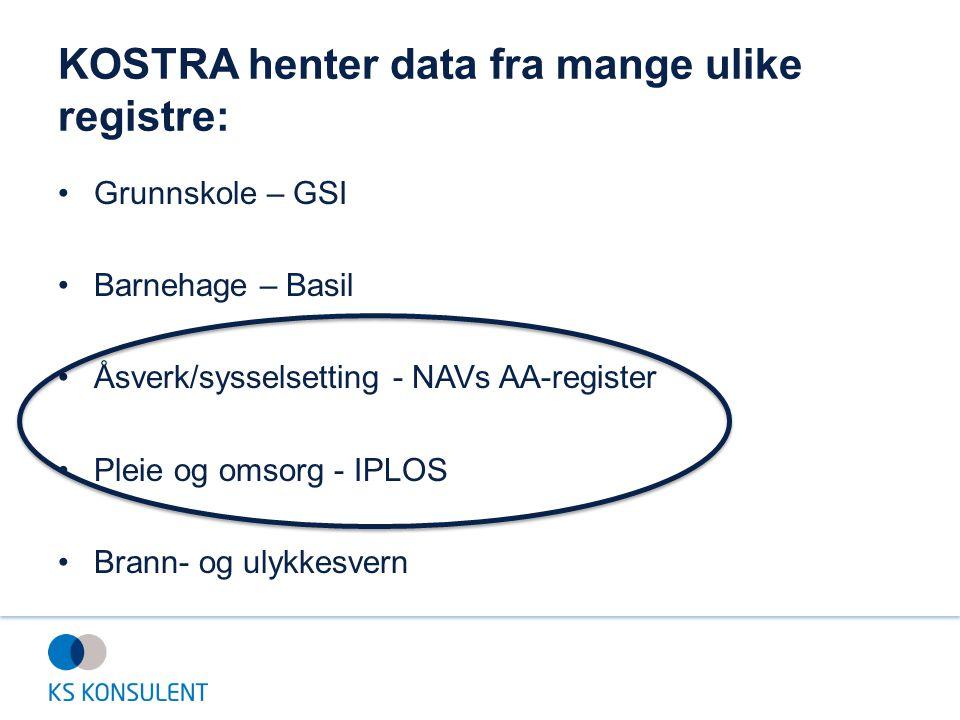 KOSTRA henter data fra mange ulike registre: Grunnskole – GSI Barnehage – Basil Åsverk/sysselsetting - NAVs AA-register Pleie og omsorg - IPLOS Brann-