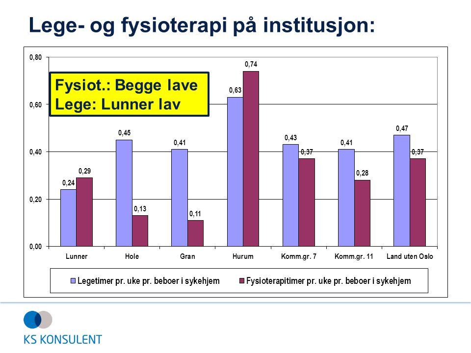 Lege- og fysioterapi på institusjon: Fysiot.: Begge lave Lege: Lunner lav