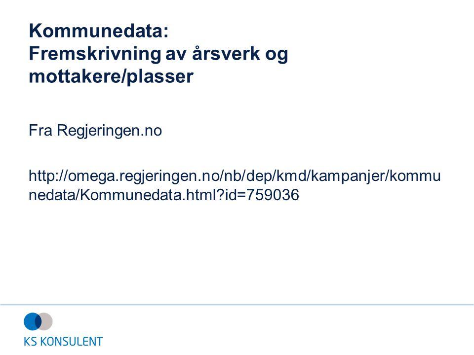 Kommunedata: Fremskrivning av årsverk og mottakere/plasser Fra Regjeringen.no http://omega.regjeringen.no/nb/dep/kmd/kampanjer/kommu nedata/Kommunedat