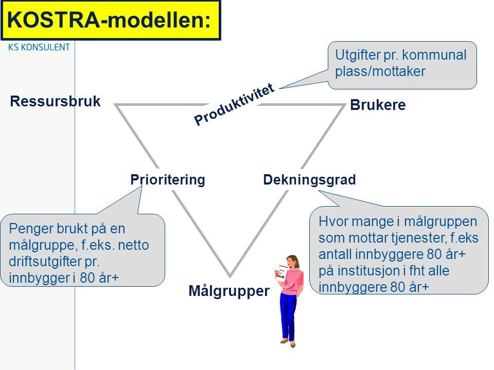 KOSTRA-modellen: Brukere Ressursbruk Målgrupper Produktivitet Dekningsgrad Prioritering Penger brukt på en målgruppe, f.eks. netto driftsutgifter pr.