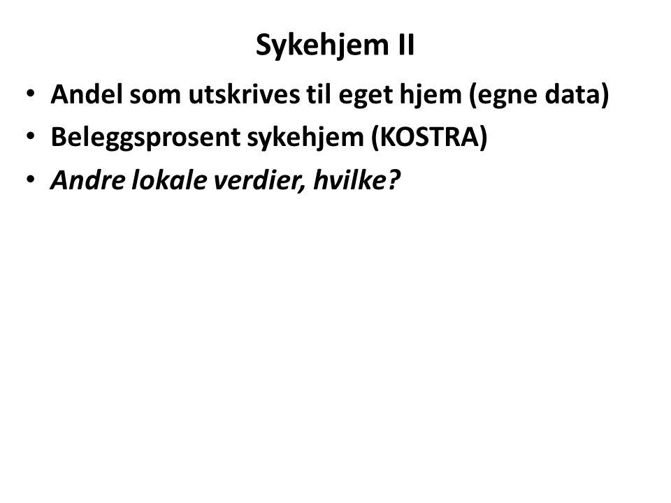 Sykehjem II Andel som utskrives til eget hjem (egne data) Beleggsprosent sykehjem (KOSTRA) Andre lokale verdier, hvilke?
