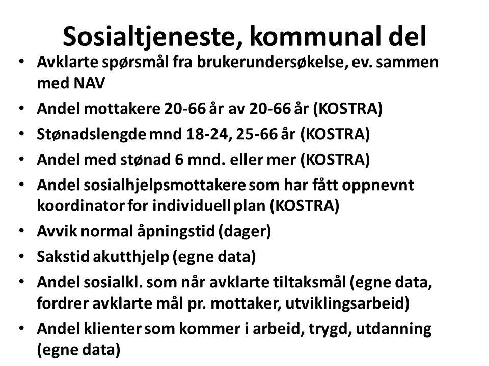 Sosialtjeneste, kommunal del Avklarte spørsmål fra brukerundersøkelse, ev.