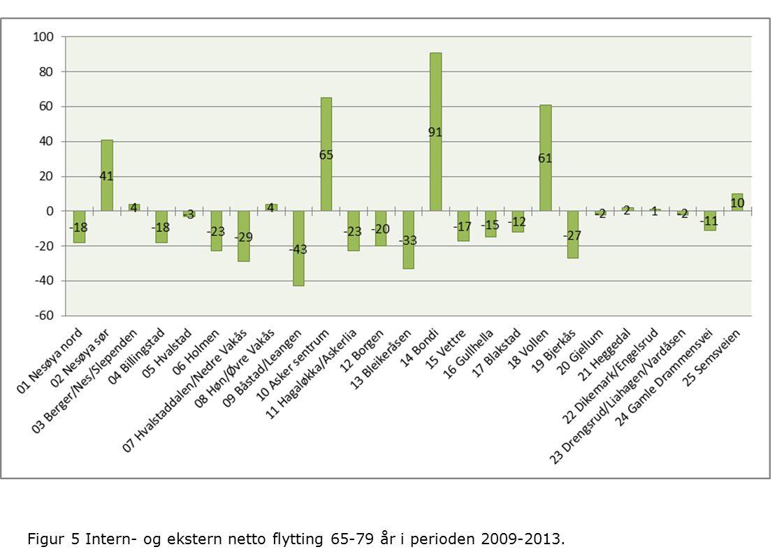 Figur 5 Intern- og ekstern netto flytting 65-79 år i perioden 2009-2013.