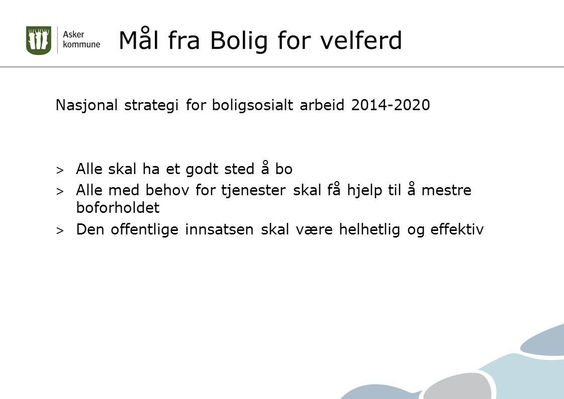 Mål fra Bolig for velferd Nasjonal strategi for boligsosialt arbeid 2014-2020 > Alle skal ha et godt sted å bo > Alle med behov for tjenester skal få