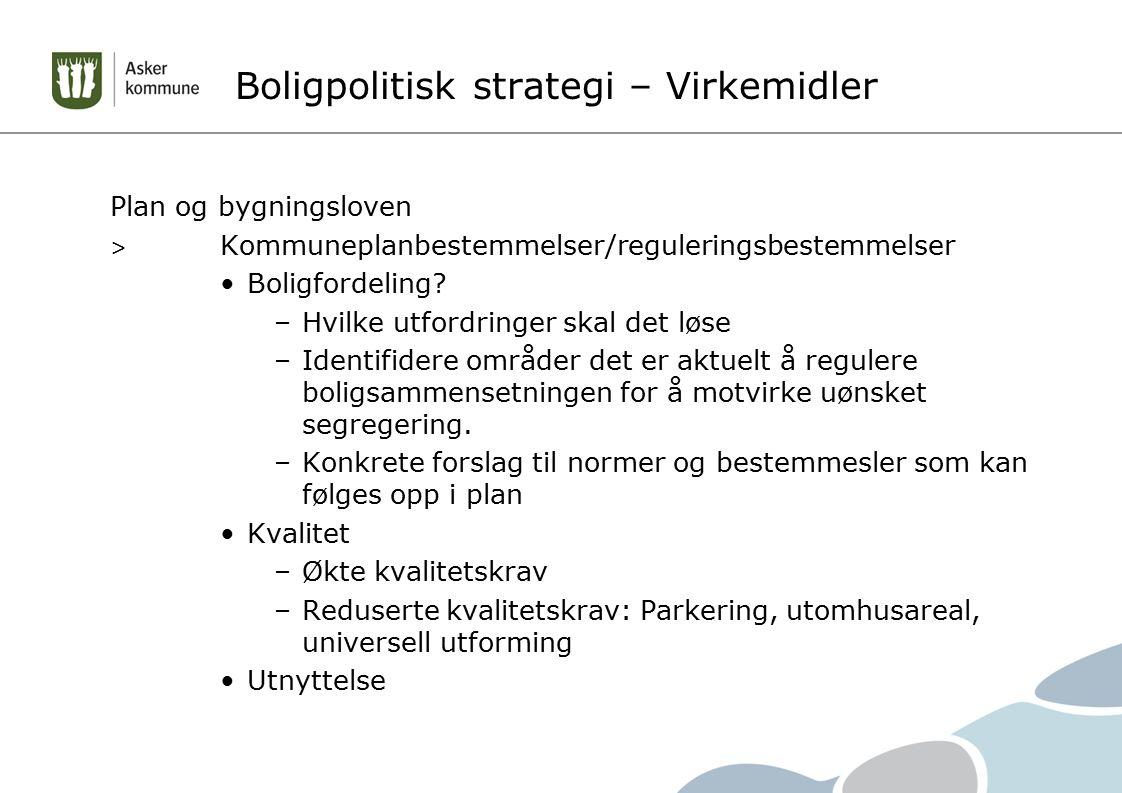 Boligpolitisk strategi – Virkemidler Plan og bygningsloven > Kommuneplanbestemmelser/reguleringsbestemmelser Boligfordeling? –Hvilke utfordringer skal