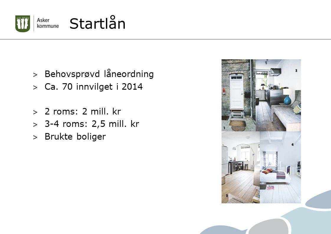 Startlån > Behovsprøvd låneordning > Ca. 70 innvilget i 2014 > 2 roms: 2 mill. kr > 3-4 roms: 2,5 mill. kr > Brukte boliger