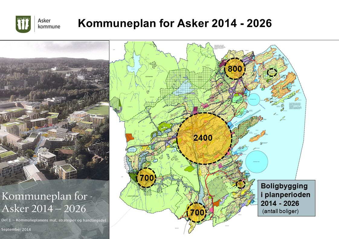 Boligbygging i planperioden 2014 - 2026 (antall boliger) 800 2400 700 Kommuneplan for Asker 2014 - 2026