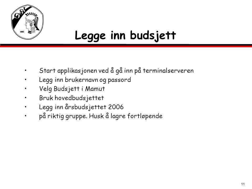 11 Legge inn budsjett Start applikasjonen ved å gå inn på terminalserveren Legg inn brukernavn og passord Velg Budsjett i Mamut Bruk hovedbudsjettet L