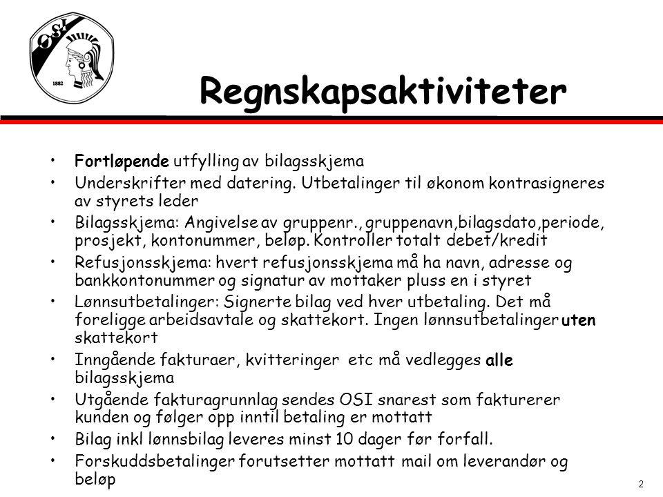2 Fortløpende utfylling av bilagsskjema Underskrifter med datering.