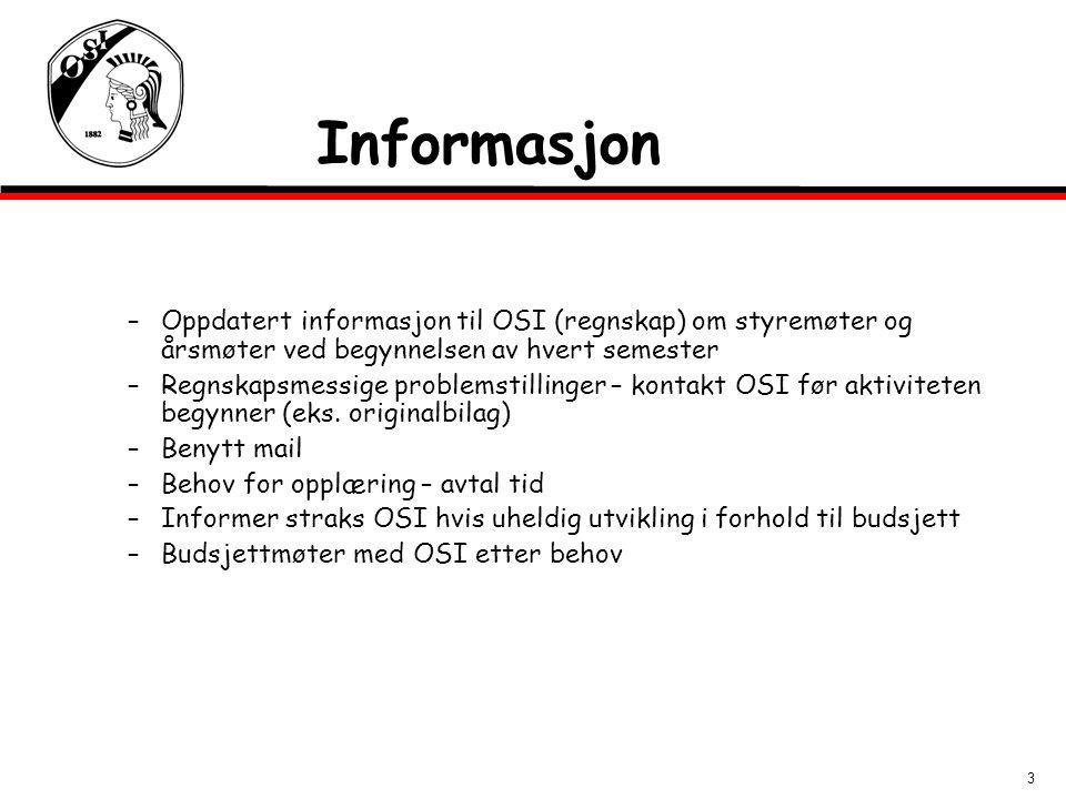 3 Informasjon –Oppdatert informasjon til OSI (regnskap) om styremøter og årsmøter ved begynnelsen av hvert semester –Regnskapsmessige problemstillinge