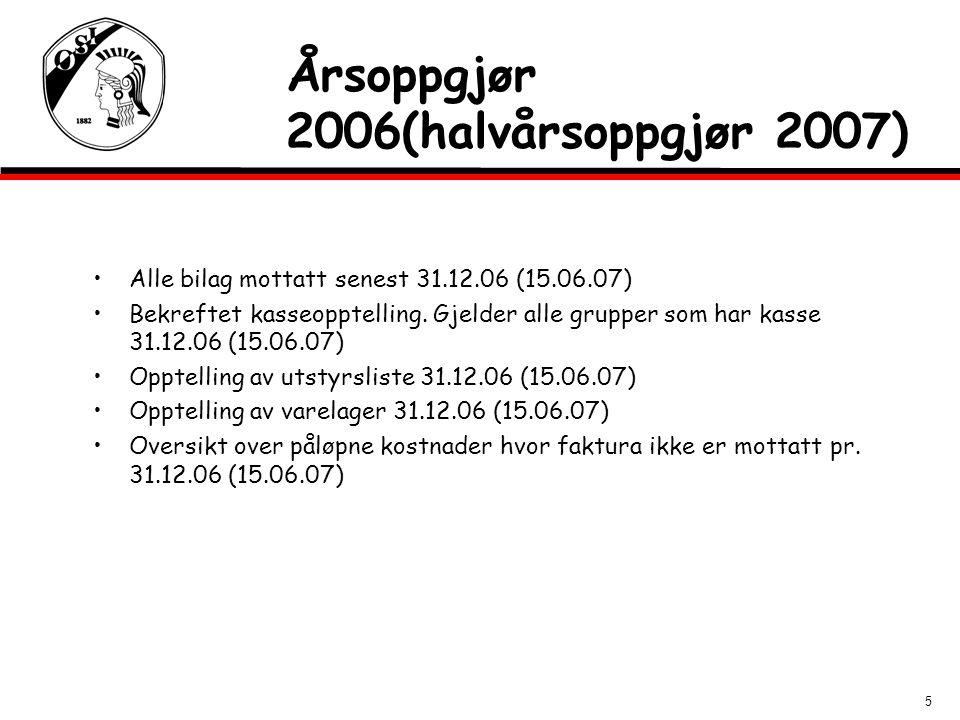5 Årsoppgjør 2006(halvårsoppgjør 2007) Alle bilag mottatt senest 31.12.06 (15.06.07) Bekreftet kasseopptelling. Gjelder alle grupper som har kasse 31.