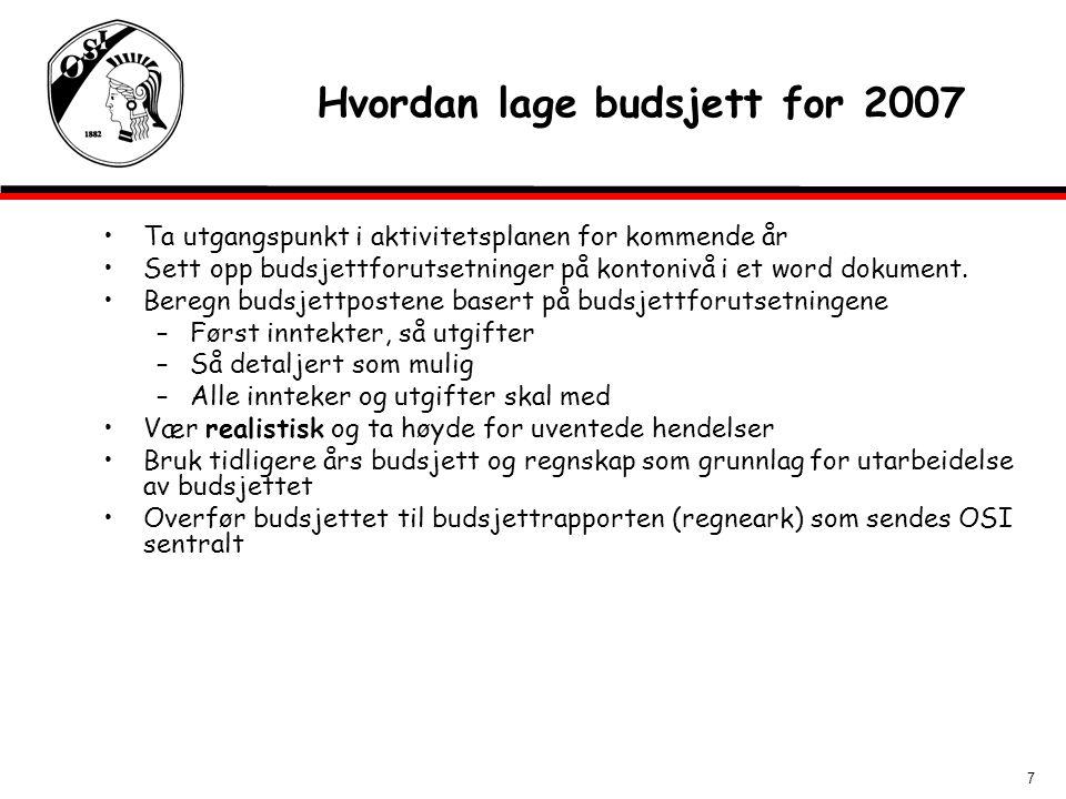 7 Hvordan lage budsjett for 2007 Ta utgangspunkt i aktivitetsplanen for kommende år Sett opp budsjettforutsetninger på kontonivå i et word dokument.