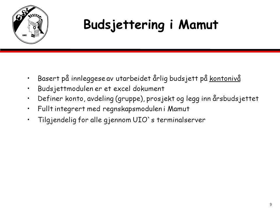 9 Budsjettering i Mamut Basert på innleggese av utarbeidet årlig budsjett på kontonivå Budsjettmodulen er et excel dokument Definer konto, avdeling (g