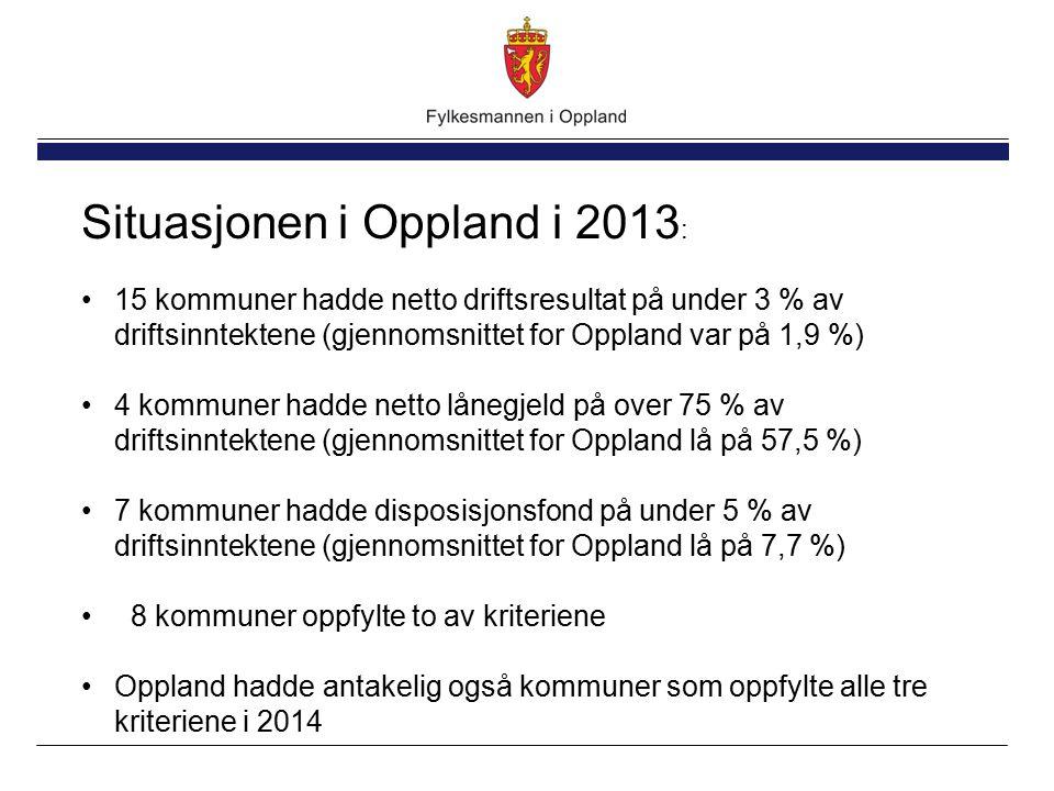 Situasjonen i Oppland i 2013 : 15 kommuner hadde netto driftsresultat på under 3 % av driftsinntektene (gjennomsnittet for Oppland var på 1,9 %) 4 kommuner hadde netto lånegjeld på over 75 % av driftsinntektene (gjennomsnittet for Oppland lå på 57,5 %) 7 kommuner hadde disposisjonsfond på under 5 % av driftsinntektene (gjennomsnittet for Oppland lå på 7,7 %) 8 kommuner oppfylte to av kriteriene Oppland hadde antakelig også kommuner som oppfylte alle tre kriteriene i 2014