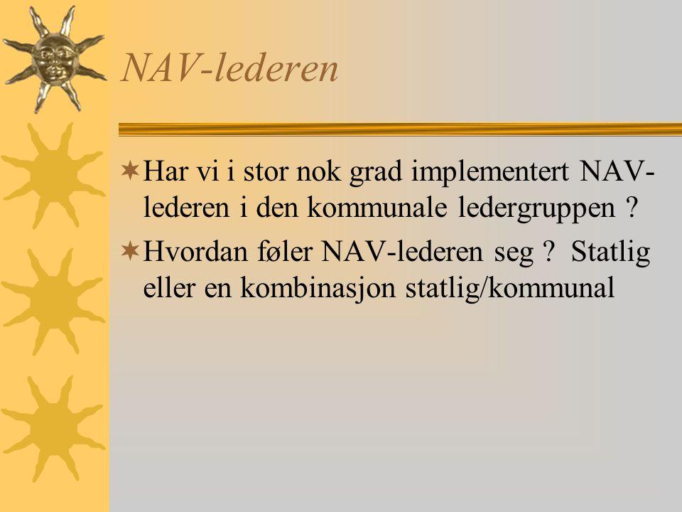 NAV-lederen  Har vi i stor nok grad implementert NAV- lederen i den kommunale ledergruppen .