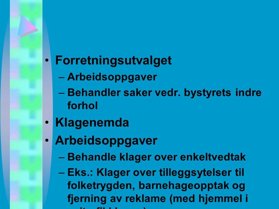 Ulike kontroll og koordinasjonsorganer Tilsynsutvalget –Arbeidsoppg.