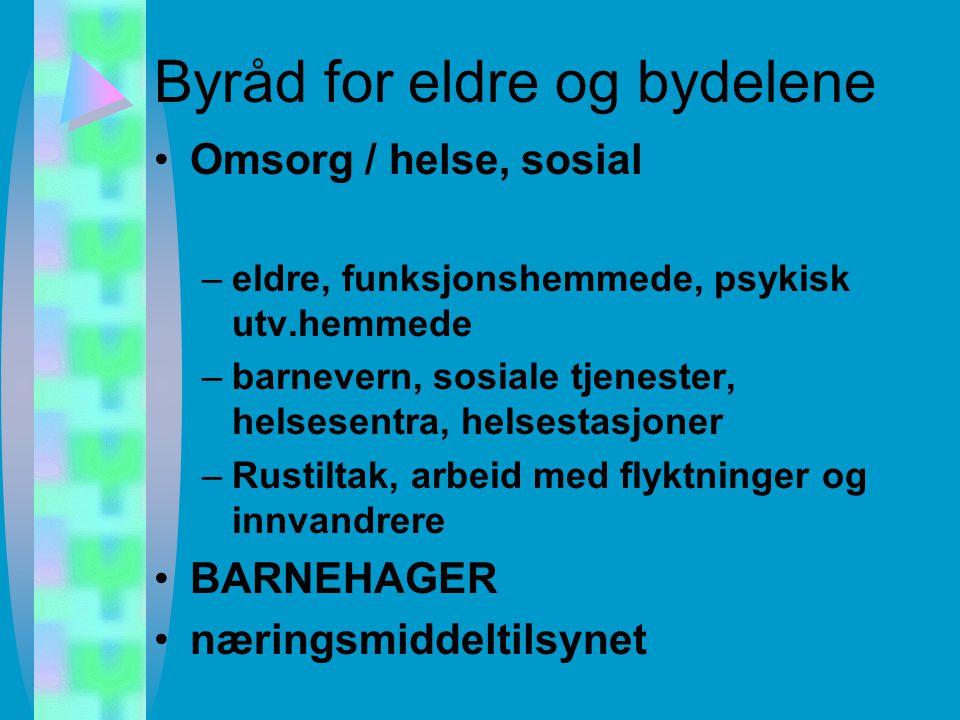 Byrådsavdelingene Finans Eldre og bydelene Helse og sykehus Kultur og utdanning Næring og byutvikling Miljø og samferdsel