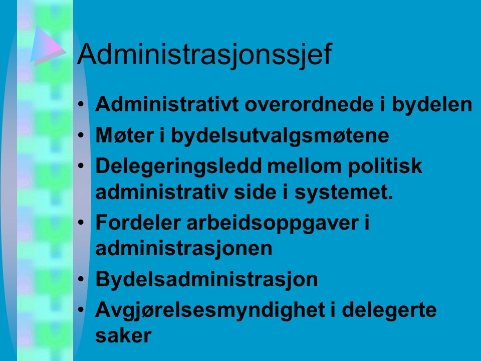 Bydelenes obligatoriske organer Arbeidsutvalg 5 medl. Tilsynsutvalg (avhengig av omfang av institusjoner) 2 medl. –For institusjoner og hjemmetjeneste