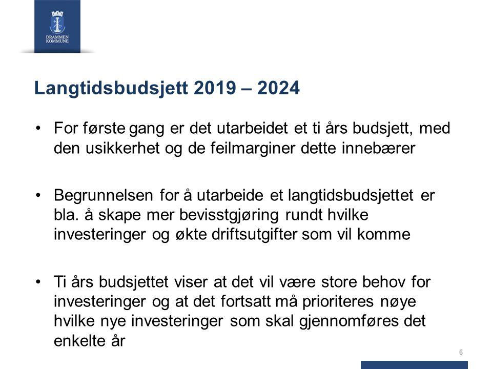 Langtidsbudsjett 2019 – 2024 For første gang er det utarbeidet et ti års budsjett, med den usikkerhet og de feilmarginer dette innebærer Begrunnelsen for å utarbeide et langtidsbudsjettet er bla.