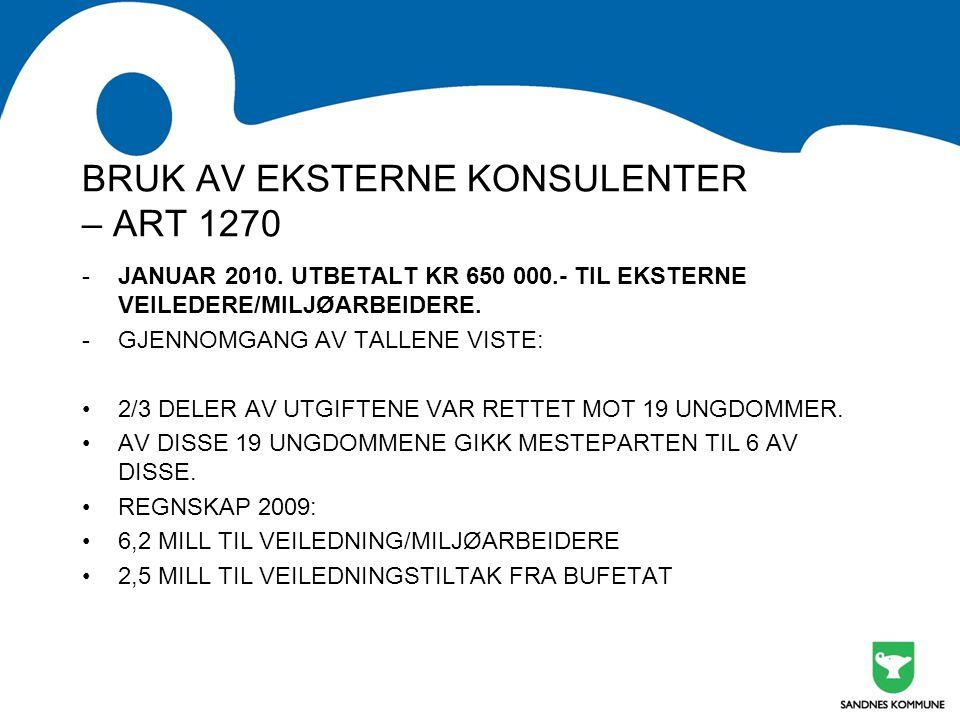 BRUK AV EKSTERNE KONSULENTER – ART 1270 -JANUAR 2010. UTBETALT KR 650 000.- TIL EKSTERNE VEILEDERE/MILJØARBEIDERE. -GJENNOMGANG AV TALLENE VISTE: 2/3