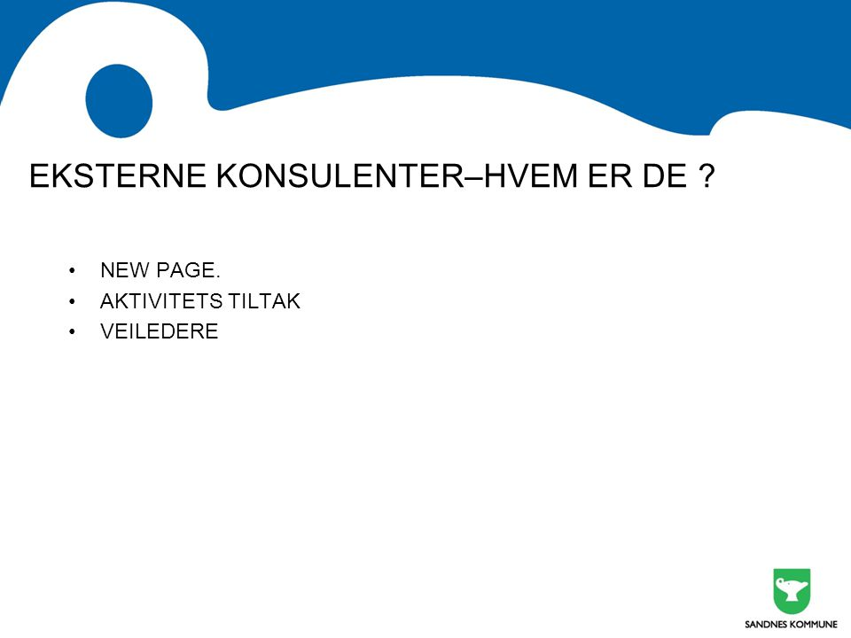 EKSTERNE KONSULENTER–HVEM ER DE ? NEW PAGE. AKTIVITETS TILTAK VEILEDERE