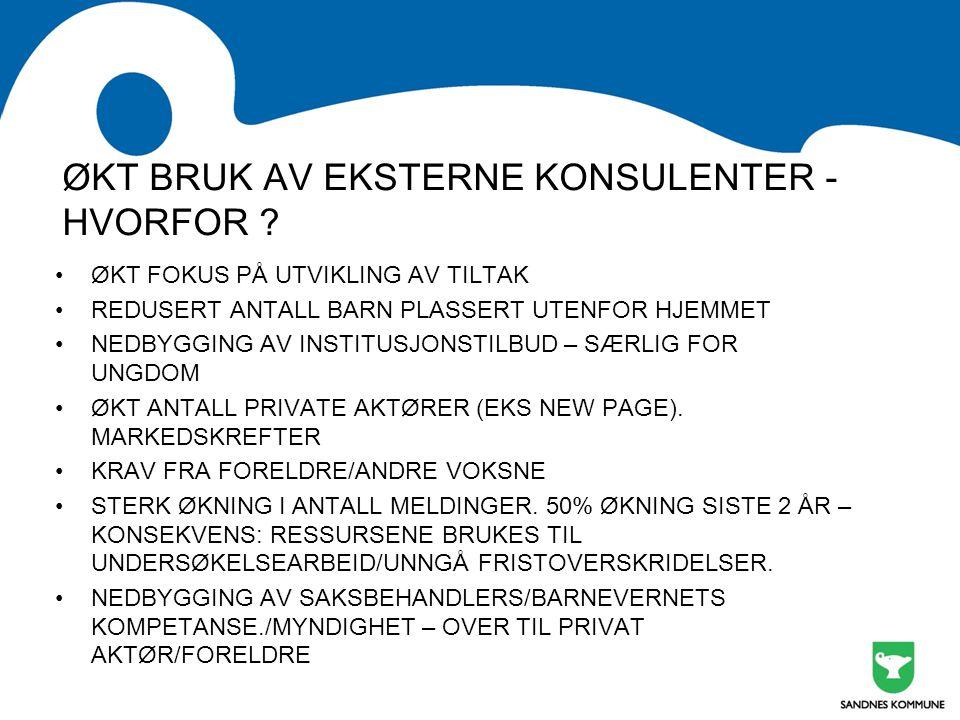 ØKT BRUK AV EKSTERNE KONSULENTER - HVORFOR .