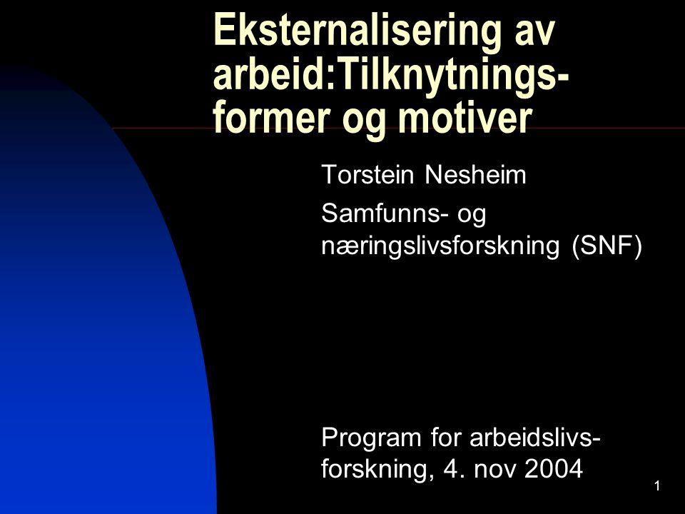 1 Eksternalisering av arbeid:Tilknytnings- former og motiver Torstein Nesheim Samfunns- og næringslivsforskning (SNF) Program for arbeidslivs- forskni