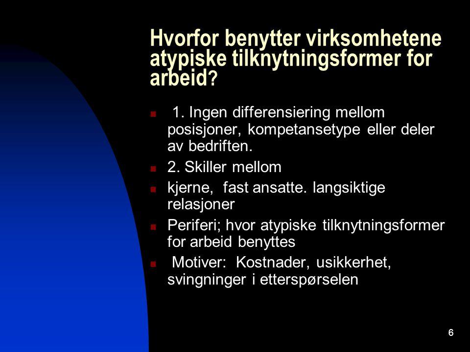 6 Hvorfor benytter virksomhetene atypiske tilknytningsformer for arbeid ? 1. Ingen differensiering mellom posisjoner, kompetansetype eller deler av be