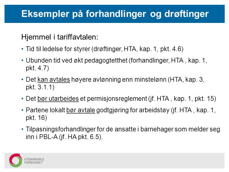 Hjemmel i tariffavtalen: Tid til ledelse for styrer (drøftinger, HTA, kap. 1, pkt. 4.6) Ubunden tid ved økt pedagogtetthet (forhandlinger, HTA, kap. 1
