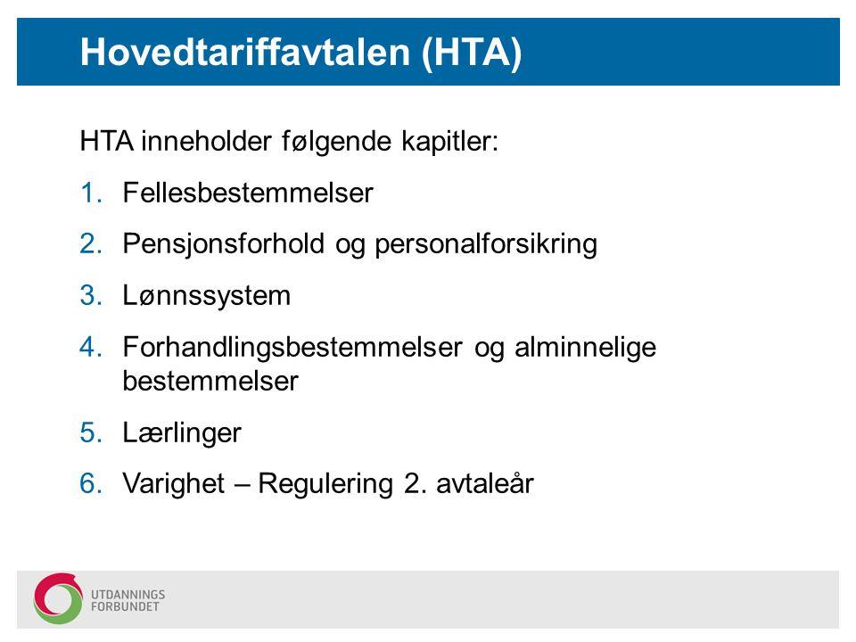 HTA inneholder følgende kapitler: 1.Fellesbestemmelser 2.Pensjonsforhold og personalforsikring 3.Lønnssystem 4.Forhandlingsbestemmelser og alminnelige