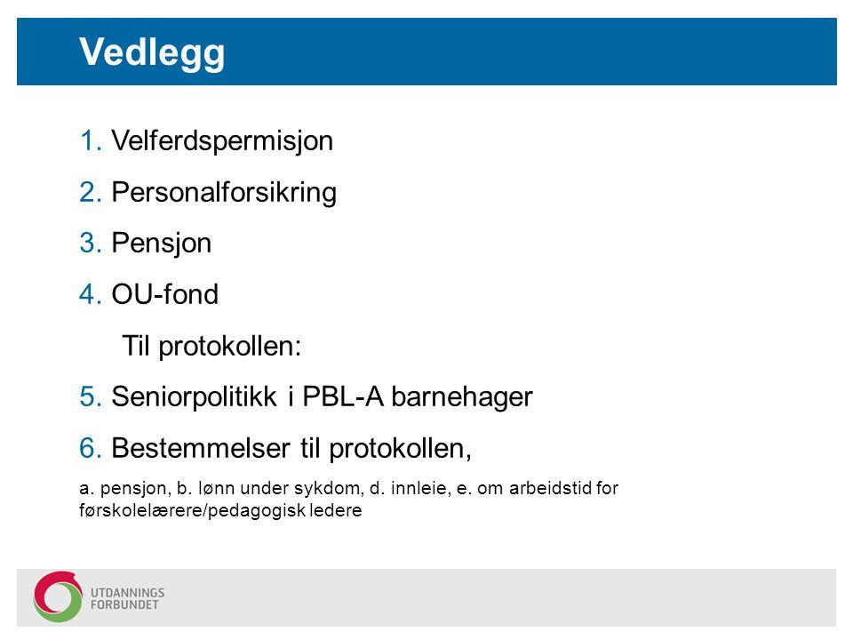 1.Velferdspermisjon 2.Personalforsikring 3.Pensjon 4.OU-fond Til protokollen: 5.Seniorpolitikk i PBL-A barnehager 6.Bestemmelser til protokollen, a. p