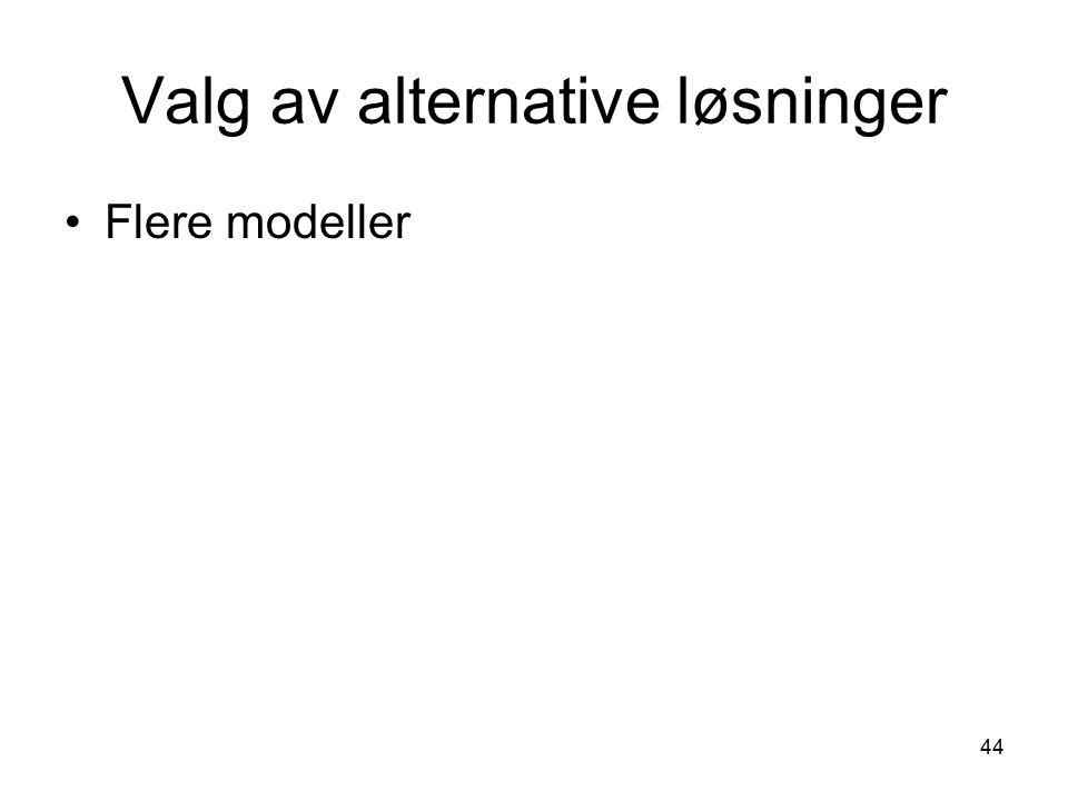 44 Valg av alternative løsninger Flere modeller