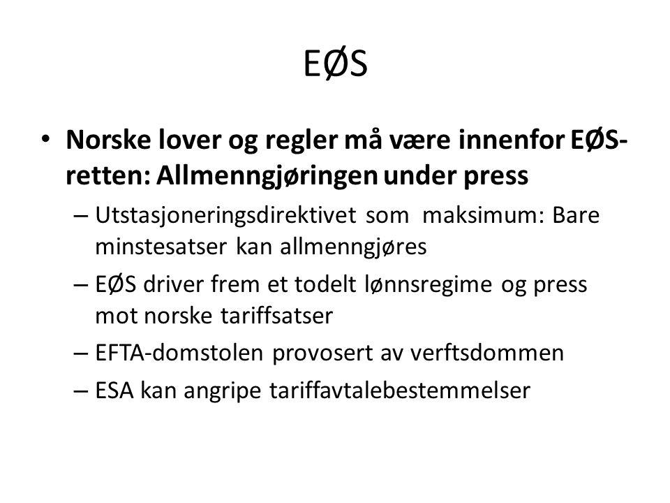 EØS Norske lover og regler må være innenfor EØS- retten: Allmenngjøringen under press – Utstasjoneringsdirektivet som maksimum: Bare minstesatser kan allmenngjøres – EØS driver frem et todelt lønnsregime og press mot norske tariffsatser – EFTA-domstolen provosert av verftsdommen – ESA kan angripe tariffavtalebestemmelser