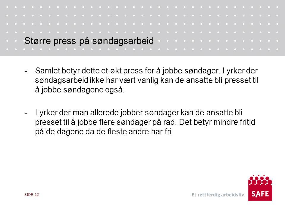 Større press på søndagsarbeid -Samlet betyr dette et økt press for å jobbe søndager.