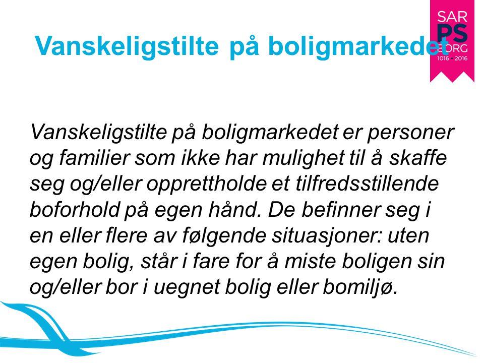Vanskeligstilte på boligmarkedet i Norge Undersøkelser viser at 150 000 personer er vanskeligstilte på boligmarkedet og 6200 mangler et sted å bo.