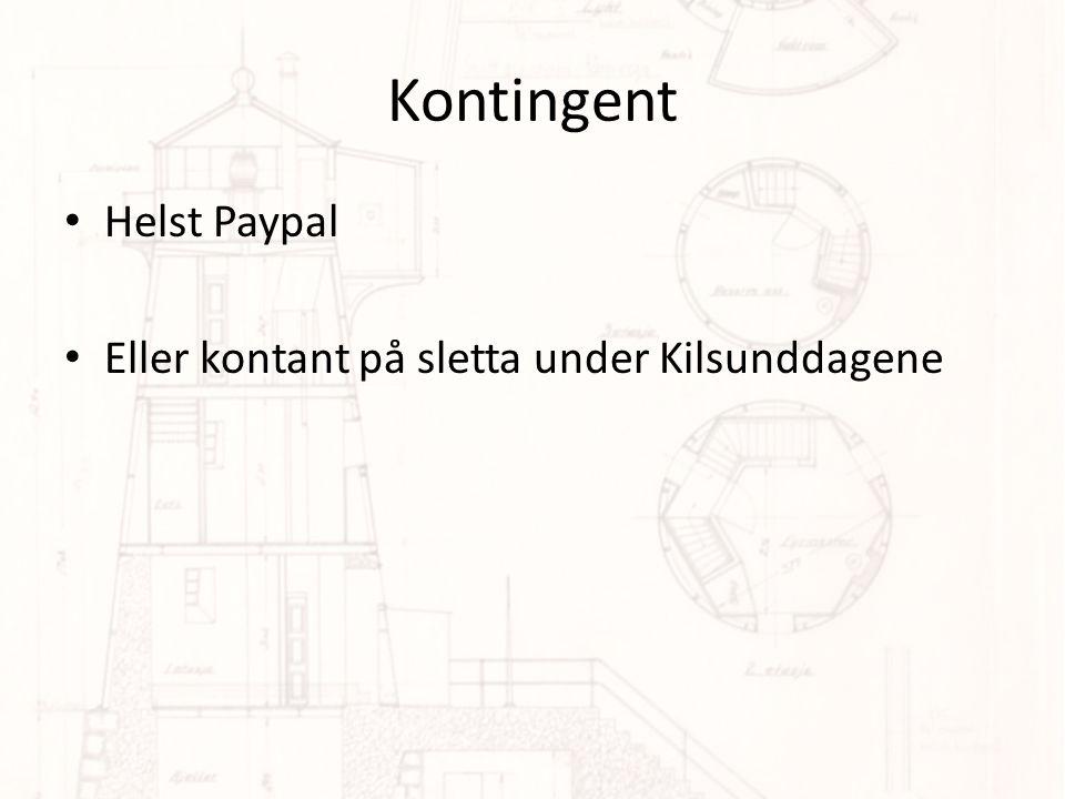 Kontingent Helst Paypal Eller kontant på sletta under Kilsunddagene