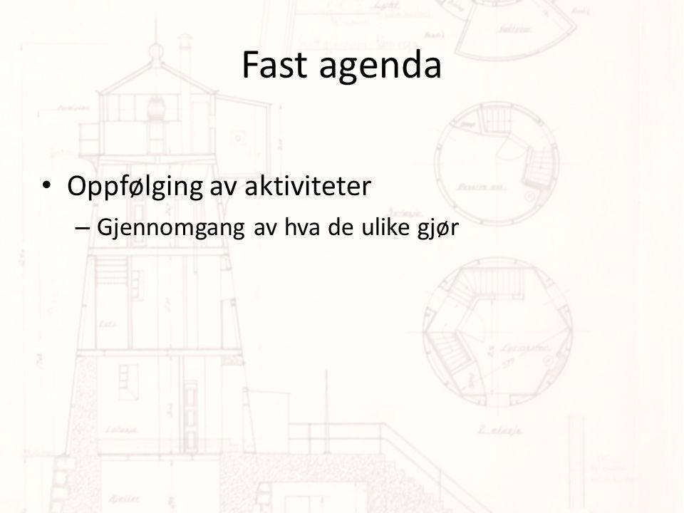 Fast agenda Oppfølging av aktiviteter – Gjennomgang av hva de ulike gjør