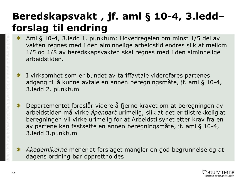 Beredskapsvakt, jf. aml § 10-4, 3.ledd– forslag til endring Aml § 10-4, 3.ledd 1. punktum: Hovedregelen om minst 1/5 del av vakten regnes med i den al