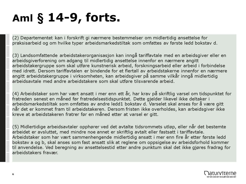 Forslag til endringer: aml § 14-9, 1.