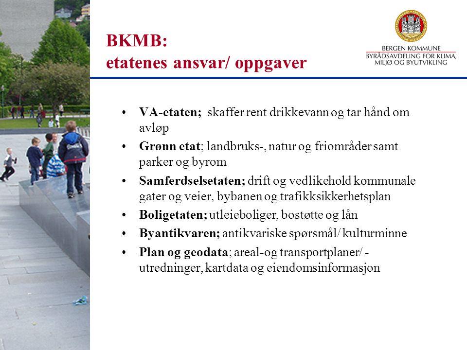 BKMB: etatenes ansvar/ oppgaver VA-etaten; skaffer rent drikkevann og tar hånd om avløp Grønn etat; landbruks-, natur og friområder samt parker og byr
