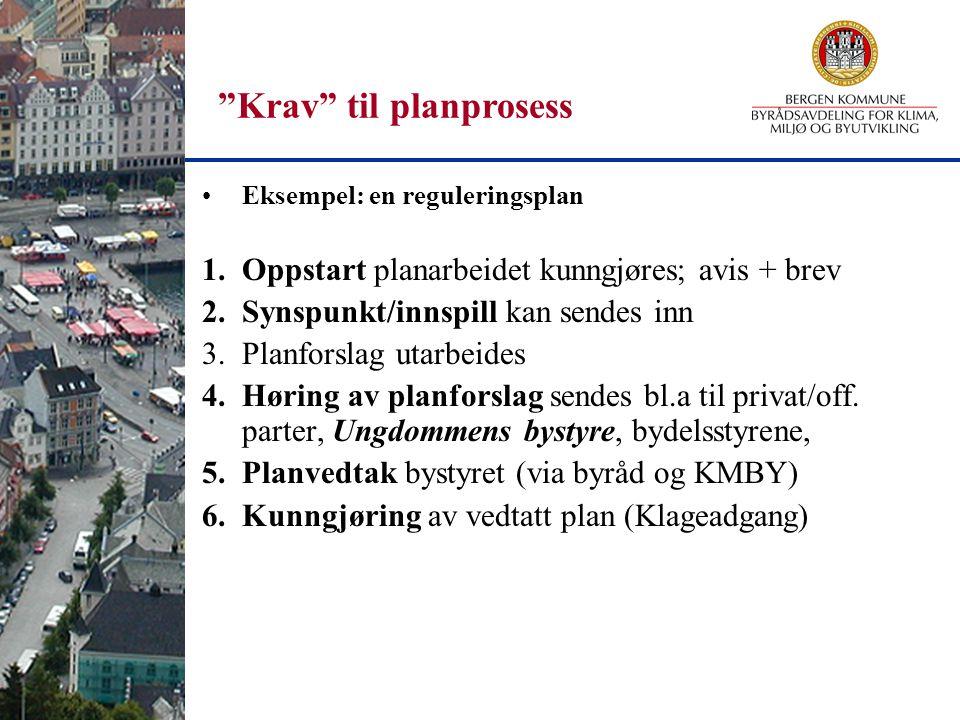 """""""Krav"""" til planprosess Eksempel: en reguleringsplan 1.Oppstart planarbeidet kunngjøres; avis + brev 2.Synspunkt/innspill kan sendes inn 3.Planforslag"""