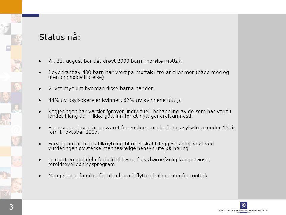 3 Status nå: Pr.31.