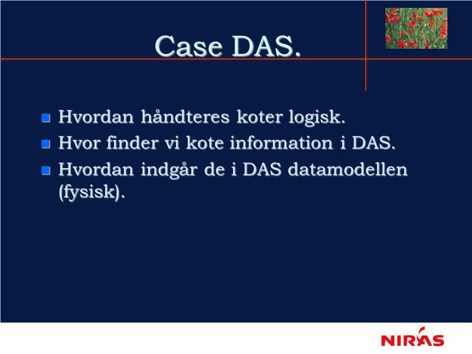 Case DAS. n Hvordan håndteres koter logisk. n Hvor finder vi kote information i DAS.