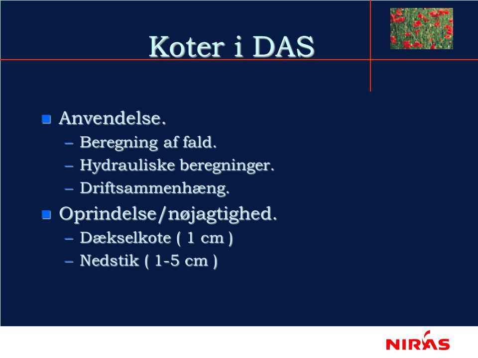 Koter i DAS n Anvendelse. –Beregning af fald. –Hydrauliske beregninger.
